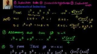 Mathematical Induction: Prove that  1^3 + 2^3 +3^3 ... n^3 = n^2 {(n+1)^2} /4