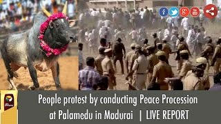 People hold silent procession to allow jallikattu at Palamedu in Madurai | LIVE REPORT