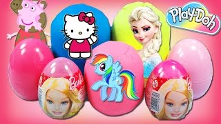 my little pony barbie surprise eggs peppa pig play doh mlp frozen olaf egg