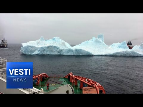 Russian Boats Tame an Iceberg! Tow Massive 1.5 Million Ton Behemoth Away From Oil Rig!