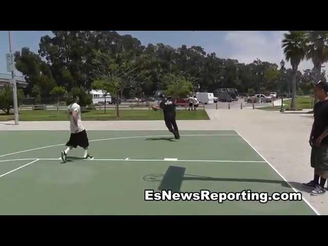 BKB Champ Pelos Garcia Whoops Seckbach On Basketball Court - EsNews Boxing