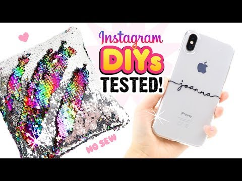 TESTING INSTAGRAM DIYS!! Remaking Viral Craft Ideas! DIY Phone Cases, Notebooks, Sequin Room Decor!