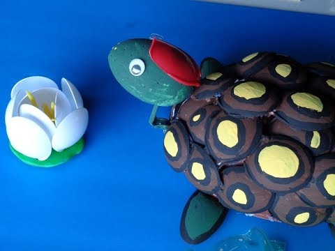 Recycled Projects: Plastic Spoon Crafts - Make a Turtle with Your Hands