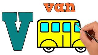 V | Van | ABC Alphabet Songs | Drawing and Coloring