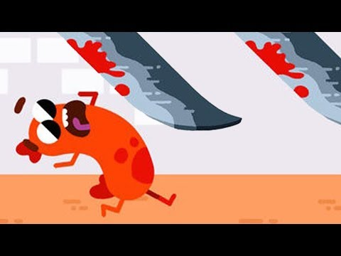 Беги Сосиска Беги прикольная мультик игра для телефона как Том за Золотом с героем в виде Сосиски