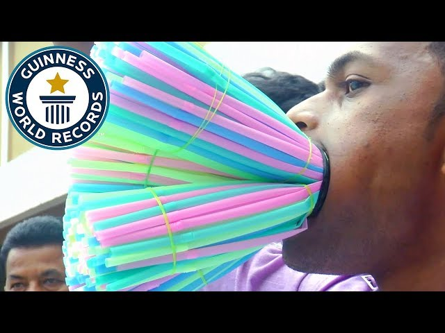 Most straws stuffed in the mouth - Guinness World Records