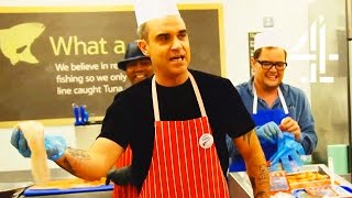 Robbie Williams Becomes A Supermarket Fishmonger | Alan Carr's Happy Hour