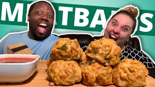 Cooking Buffalo Chicken Meatballs [Cooking with K&J]