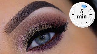 5 MINUTE Easy Daytime Glam Eye Makeup Tutorial
