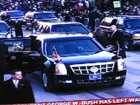 Barack & Michelle walk part of the length of Pennsylvania Avenue to the White House after Inauguration 1-20-09