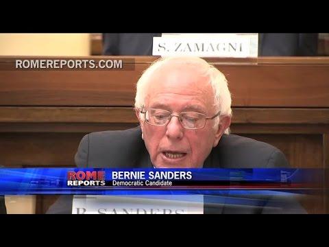 Bernie Sanders speaks at the Vatican