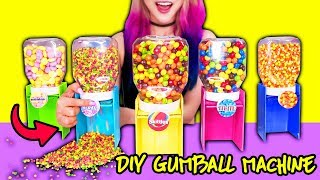 DIY Candy Dispenser Using Everyday Objects! Learn How To Make GUMBALL Machine With Nutella Jars!