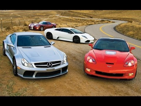 Corvette ZR1 vs. SL65 AMG Black Series, Murciélago LP640, Viper SRT10 - Car and Driver Video