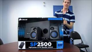 Corsair SP2500 2.1 Gaming Audiophile Computer Speakers Unboxing & First Look Linus Tech Tips