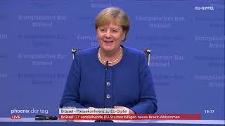 Pressekonferenz mit Bundeskanzlerin Angela Merkel zum EU-Gipfel am 17.10.19