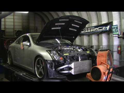 PTP Infiniti G35 Greddy Twin Turbo Dyno 450whp - YouTube