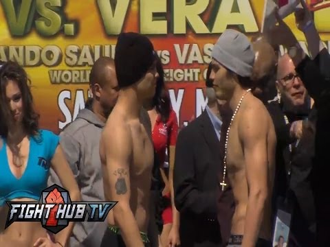 Julio Cesar Chavez Jr vs Brian Vera 2 weigh in and face off video