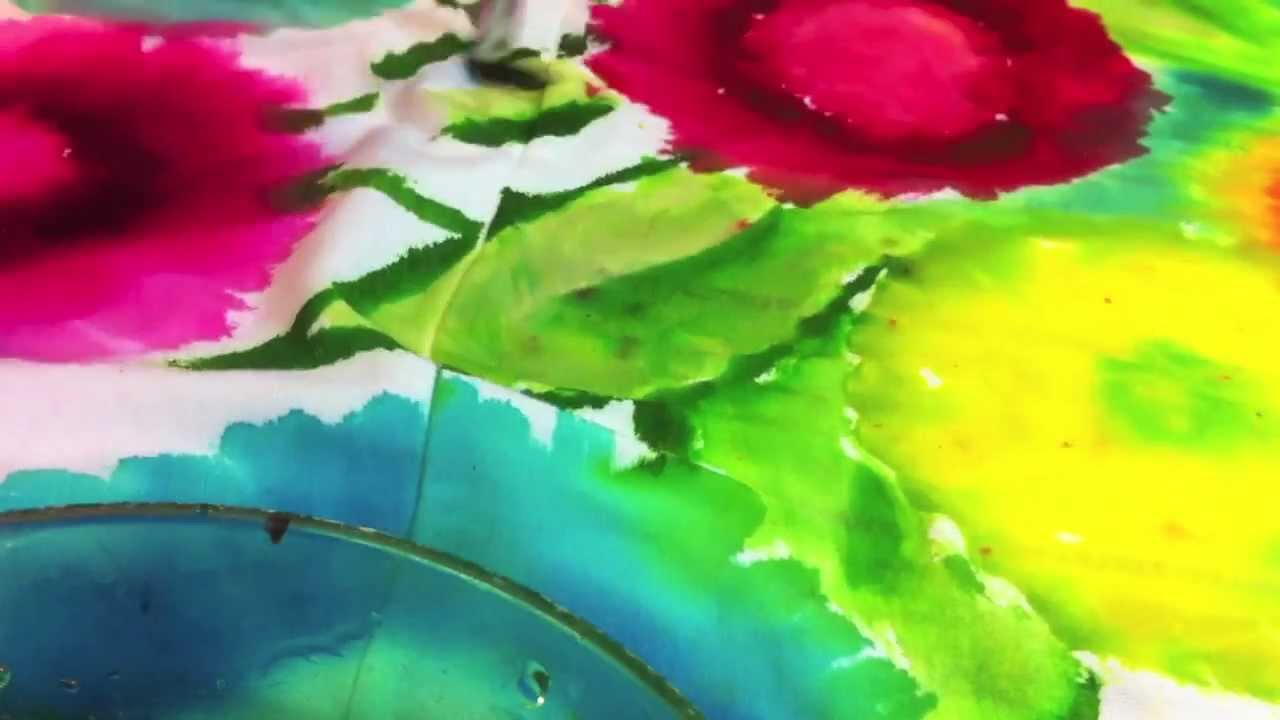 Dyeing Fabric With Flowers Diy Tie-dye Watercolor Flowers