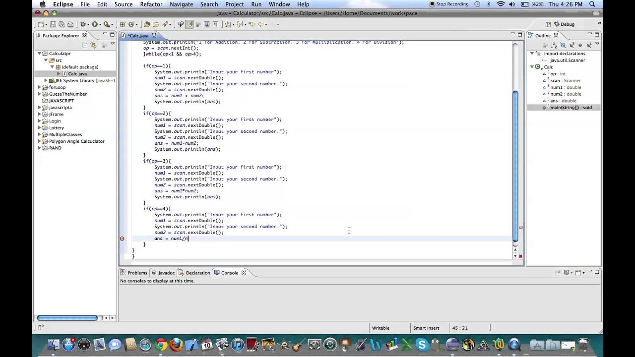 java code for calculator