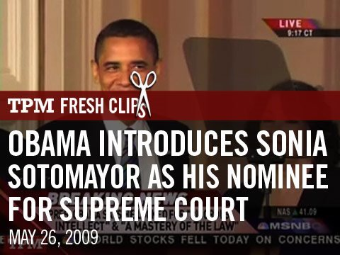 Obama Introduces Sonia Sotomayor As His Nominee For Supreme Court