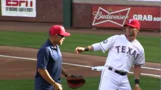 Ivan Pudge Rodriguez 1st pitch (*actually throw to 2nd base) 4/23/12 during his retirement ceremony