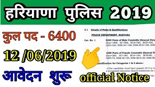 Haryana policec 2019 vacancy out, haryana police 6400 vacancy 2019, haryana police 2019 post details