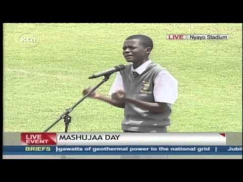 Juma Idi Juma recites a poem at Masujaa Day celebrations