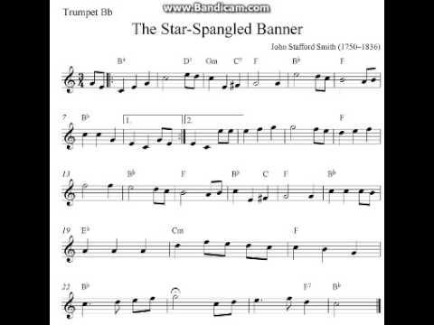 The Star Spangled Banner Trumpet Sheet Music Youtube