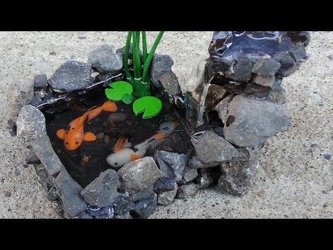 Koi pond waterfall polymer clay tutorial youtube for Fish tank vs pond