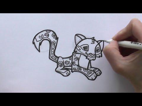 How to Draw a Cartoon Snow Leopard From Animal Jam - zooshii Style