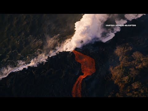 Raw: Streams of Lava Flowing Into Ocean