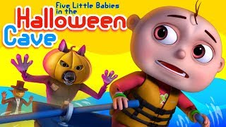 Zool Babies In A Halloween Cave | Haunted Cave | Five Little Babies | Halloween Songs For Children