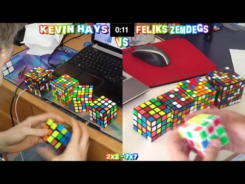2x2 - 7x7 Rubik's Cube World Record Race Kevin Hays VS Feliks Zemdegs