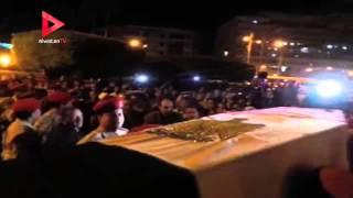 لحظة وصول جثامين شهداء تفجير كفر الشيخ وسط جنازة عسكرية