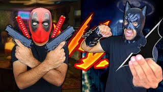 Deadpool Weapons Vs Batman Weapons DEATH BATTLE! (Comic Movie WEAPONS In Real Life)