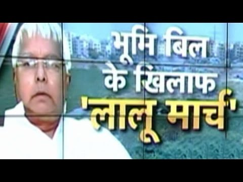 Nitish Kumar & Lalu Prasad Protest Against Govt's Land Acquisition Bill