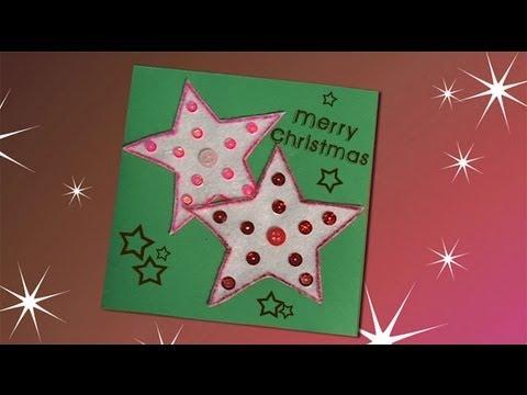 Idea de una postal de navidad con estrellas manualidades - Tarjeta de navidad para ninos manualidades ...