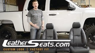 Chevrolet Silverado Black leather interior seat cover upholstery conversion kit - LeatherSeats.com