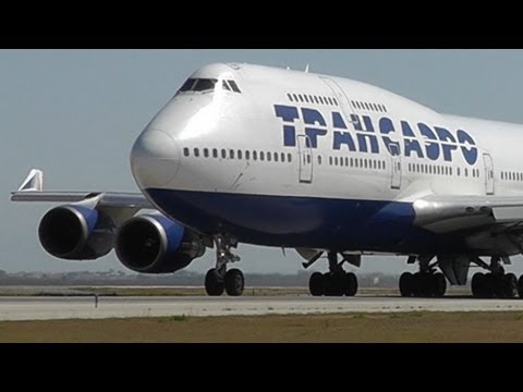 Transaero 747-446 Close Taxi and Takeoff | Inside Larnaca Intl | Unique view!