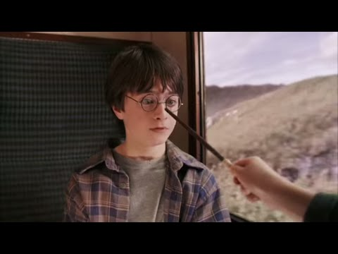 Harry, Ron and Hermione meet for the first time on the Hogwarts Express.