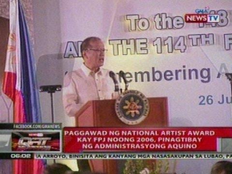 QRT: Paggawad ng Nat'l Artist Award kay FPJ noong 2006, pinagtibay ng Administrasyong Aquino