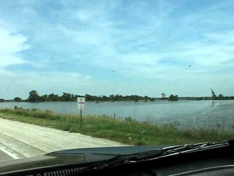 Missouri River Flood from Blair, NE Bridge to DeSoto Bend Levee
