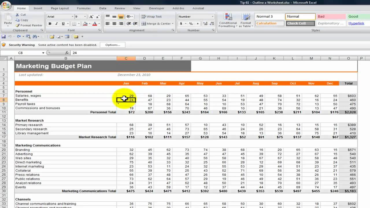 how to create an outline in excel