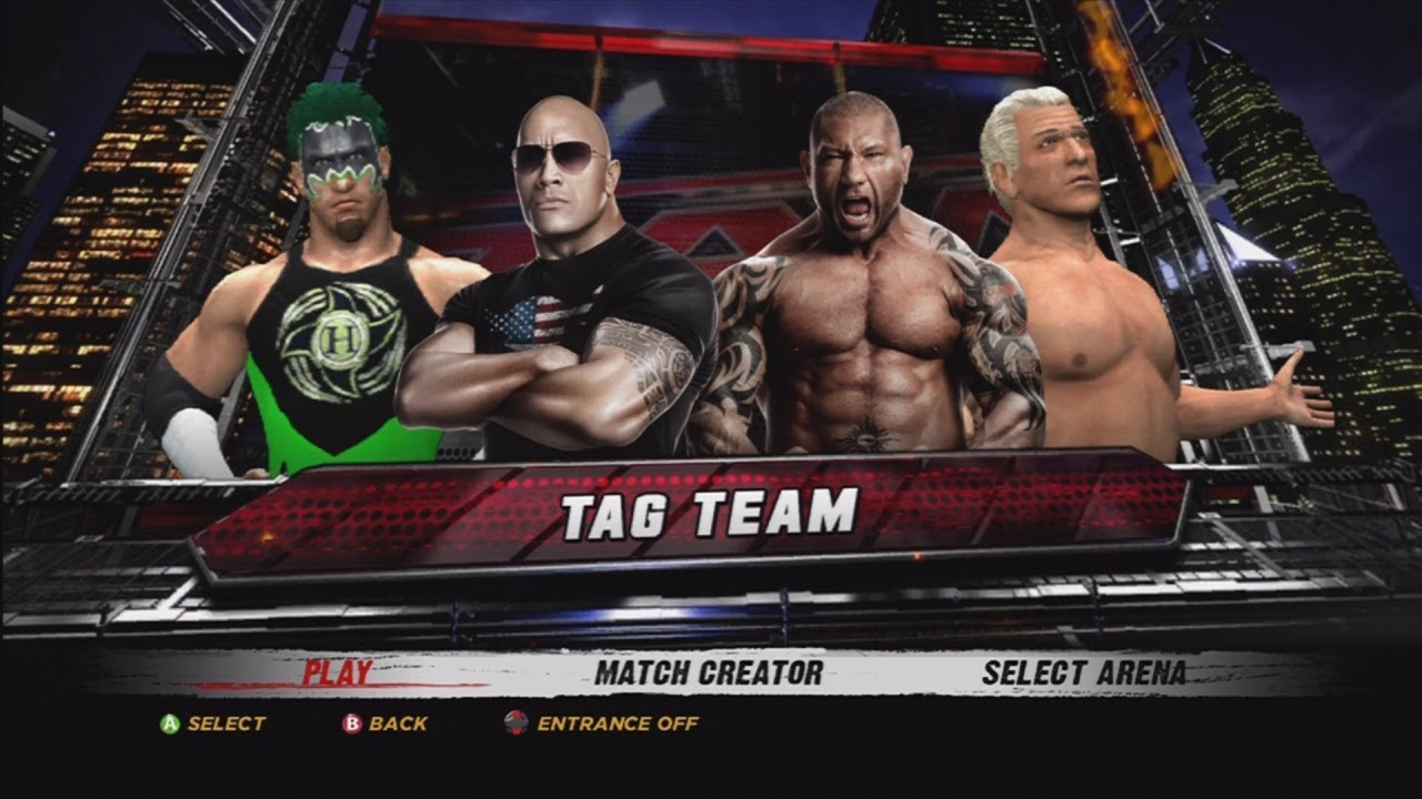wwe 12 the rock amp the hurricane vs batista amp ric flair