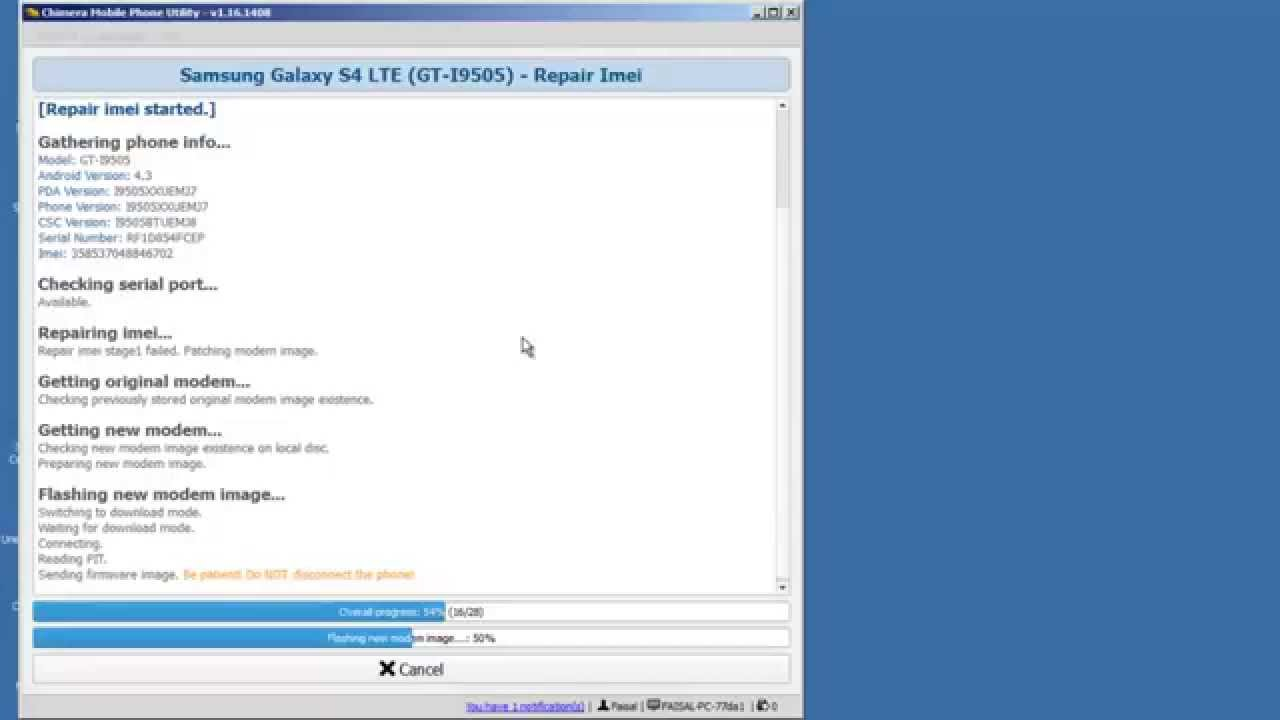how to repair imei of galaxy s4 by chimera tool