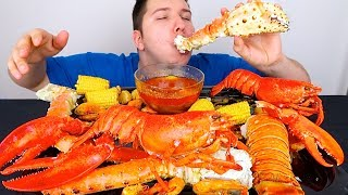 Blove's Massive Seafood Feast • Whole Lobster, King Crab, Spiced Shrimp, Sea Scallops • MUKBANG