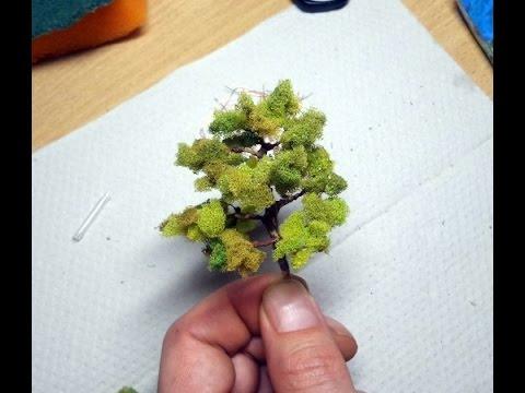 Как сделать дерево из мочалки