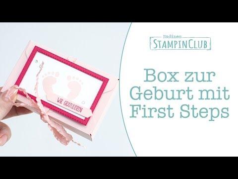 Box zur Geburt mit dem Stampin' Up!® Stempelset First Steps - Envelope Punch Board