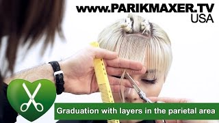Graduation with layers in the parietal area. parikmaxer tv USA