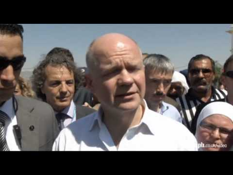 William Hague visits Syrian refugees at Jordanian camp